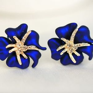 Gold Starfish Blue Flower Petals Crystal Earrings